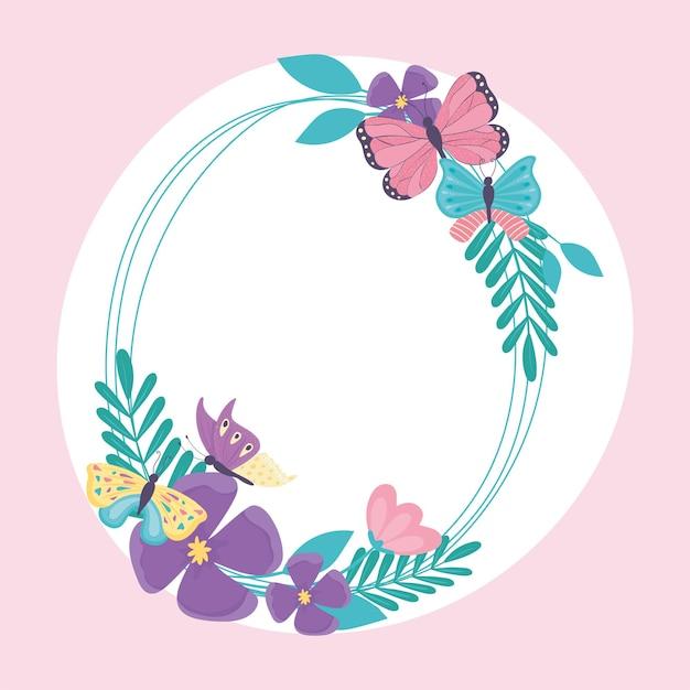 Borboletas com grinaldas de flores