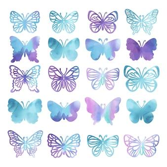 Borboletas de aguarela silhuetas de lindo verão roxo insetos tropicais em fundo branco desenhado à mão cartoon clipart ilustração vetorial definida para impressão