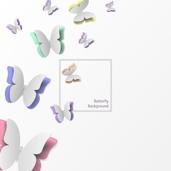 Borboletas de papel voando.