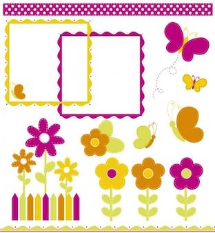 Borboletas e flores decorações