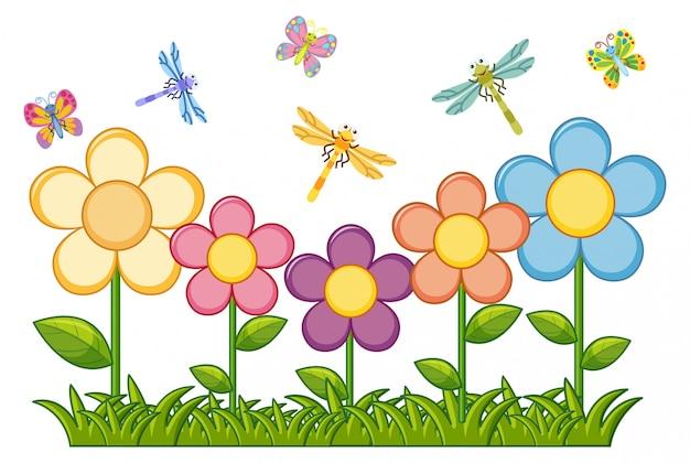 Borboletas e libélulas no jardim de flores