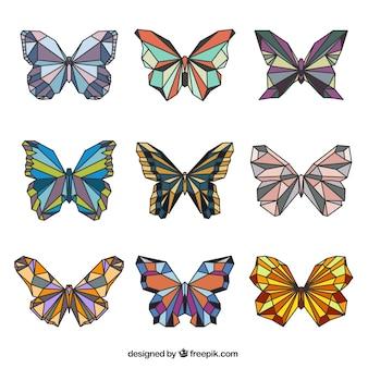 Borboletas geométricas bonitos em cores