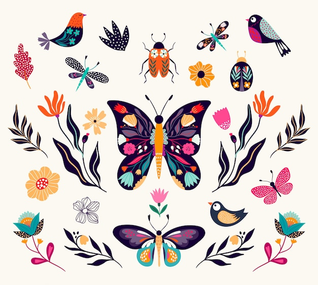 Borboletas, pássaros e flores em uma coleção de primavera, isolada no branco