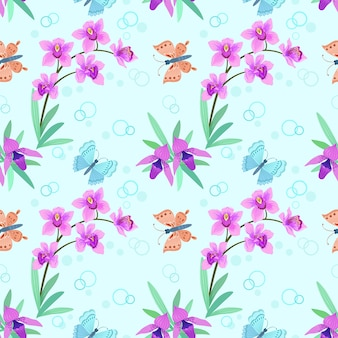 Borboletas tropicais e orquídeas cor de rosa. padrão sem emenda