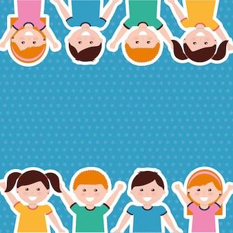 Borda bonito dos miúdos das crianças dos desenhos animados