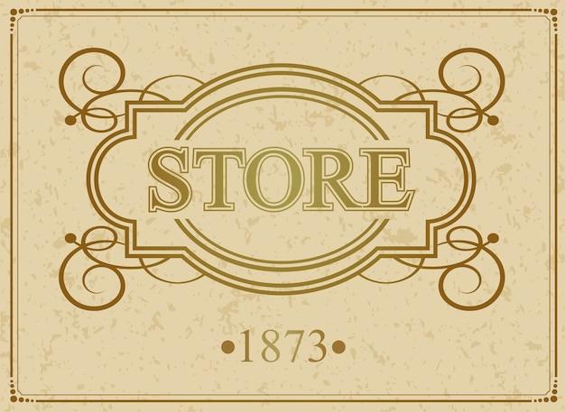 Borda caligráfica vintage luxuosa da loja