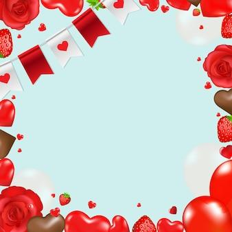 Borda com corações e flores com ilustração de malha gradiente