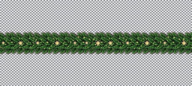 Borda com galhos de árvores de natal e estrelas douradas