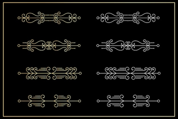 Borda da linha divisória dourada definida em preto.