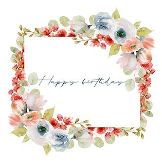 Borda da moldura de flores em aquarela de rosas brancas e rosa primavera, flores silvestres, folhagens e galhos de eucalipto