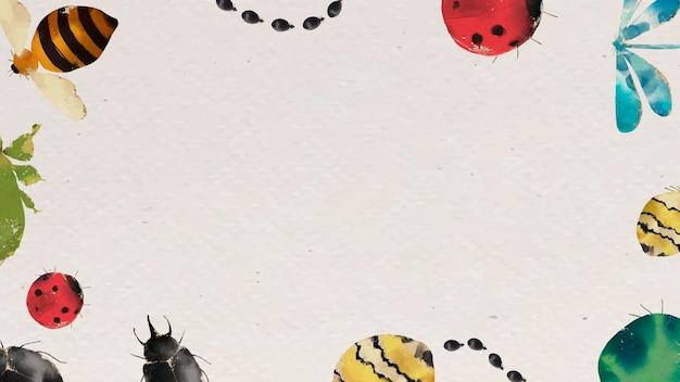 Borda de aquarela de insetos em fundo bege