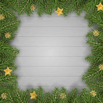 Borda de árvore de abeto de natal para ilustração vetorial de decoração e moldura