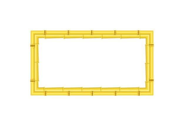 Borda de bambu de vetor com espaço de cópia vazio isolado no branco