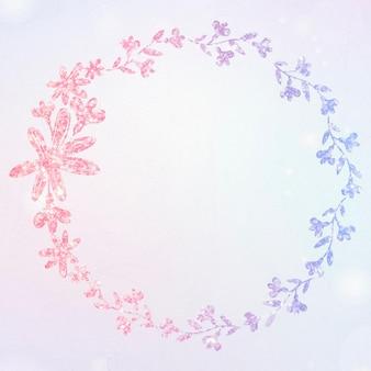 Borda de brilho de guirlanda floral de vetor