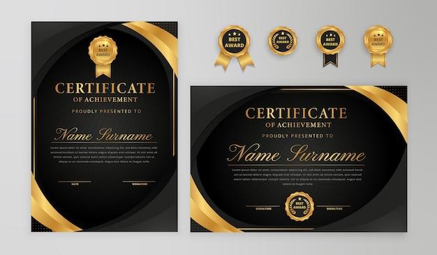 Borda de certificado gradiente preto e dourado elegante com conjunto de emblemas para negócios e modelo de diploma