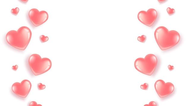 Borda de corações rosa em fundo branco, dia dos namorados