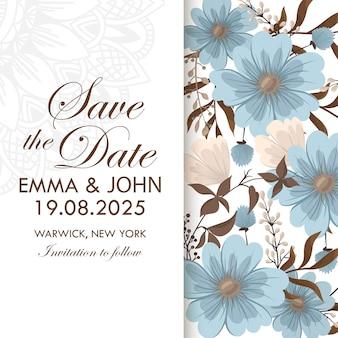 Borda de desenhos de flores - flores azuis claras