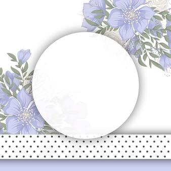 Borda de desenhos de flores - flores azuis
