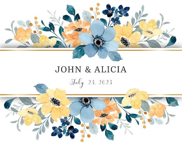 Borda de flor amarela e azul com aquarela