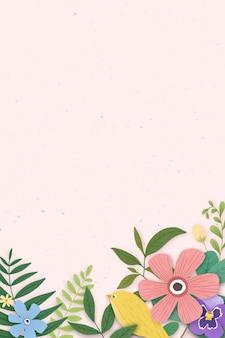 Borda de flor em um fundo rosa Vetor grátis