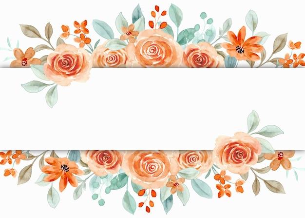 Borda de flor rosa aquarela