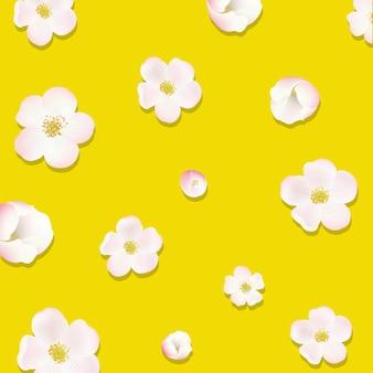Borda de flores de macieira com ilustração de malha de gradiente