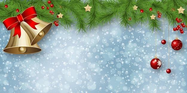 Borda de galhos de árvore de abeto de natal e ano novo no fundo desfocado do vetor