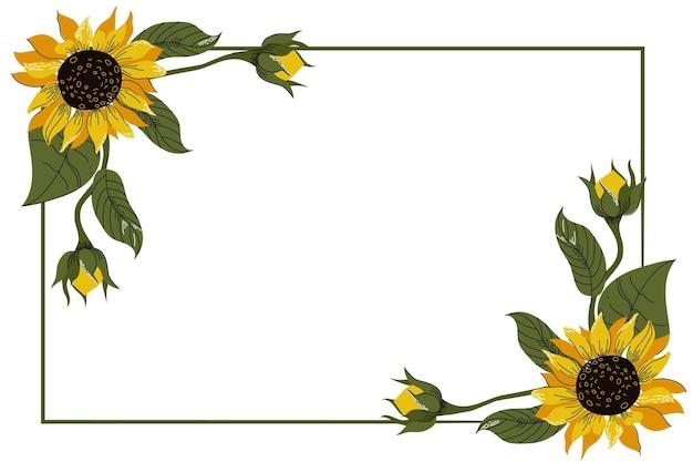 Borda de girassol natural de design plano