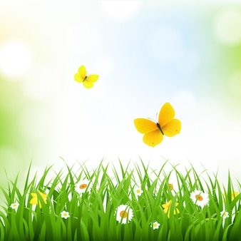 Borda de grama com fundo de natureza com ilustração de malha gradiente