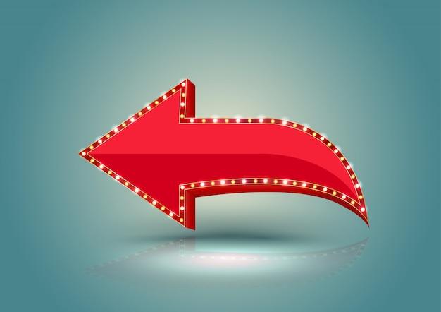 Borda de luz de seta vermelha retrô.