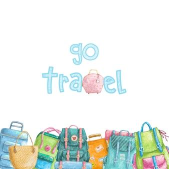 Borda de mão desenhada lápis com coleção de malas de viagem