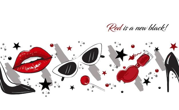 Borda de moda lábios vermelhos