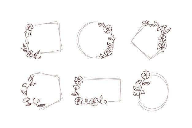 Borda de moldura fina com coleção de flores