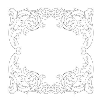 Borda de moldura ornamental retrô