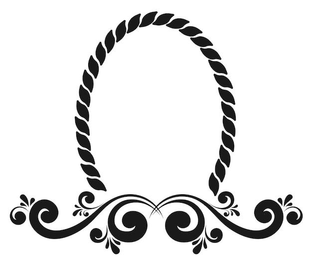 Borda de moldura vintage para ornamento floral de monograma