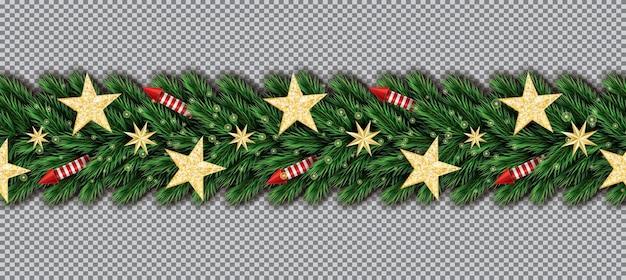 Borda de natal com estrelas douradas, galhos de árvores de natal e foguetes vermelhos