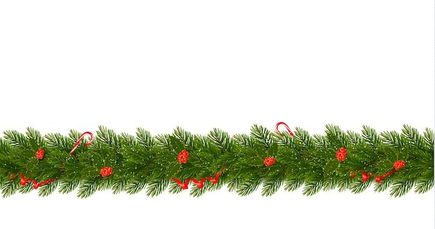 Borda de natal com galhos de árvores