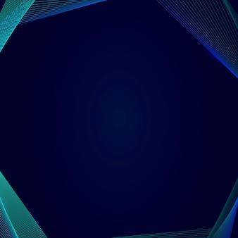 Borda de onda de sintetizador de néon em um modelo quadrado azul escuro