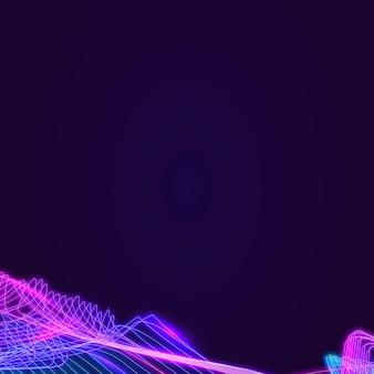 Borda de onda de sintetizador de néon em um modelo quadrado roxo escuro