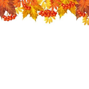 Borda de outono com folhas com malha gradiente
