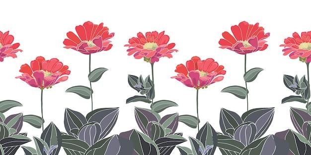 Borda de padrão floral sem costura