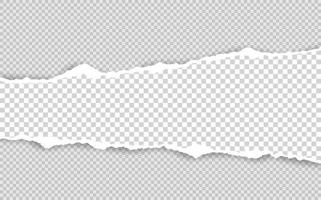 Borda de papel rasgado horizontal. tiras de papel branco horizontais rasgadas e quadradas.