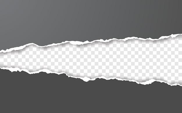 Borda de papel rasgado horizontal. tiras de papel horizontais quadradas e rasgadas.