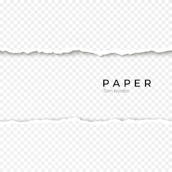 Borda de papel rasgado sem costura horizontal. borda áspera quebrada de tira de papel. ilustração em fundo transparente