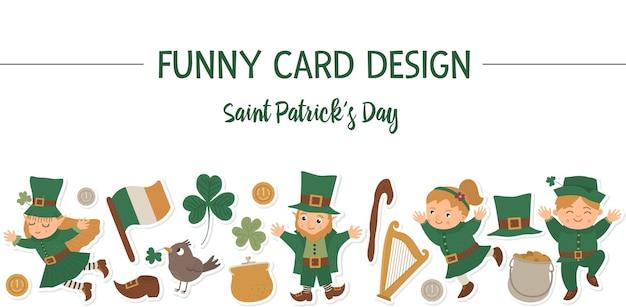 Borda de quadro de layout horizontal saint patrick day com duende, adesivos de trevo. feriado irlandês com tema