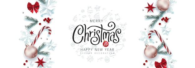 Borda decorativa de natal feita de fundo de elementos festivos