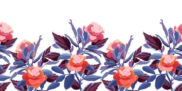 Borda decorativa de padrão floral sem emenda. flores vermelhas, folhas azuis marrons