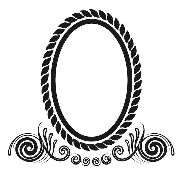 Borda decorativa oval em design decorativo de estilo rococó antigo