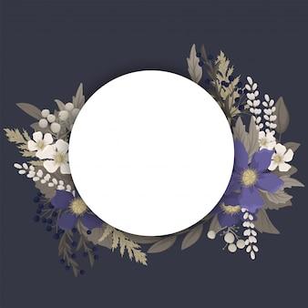 Borda do círculo de flores escuras - flores azuis
