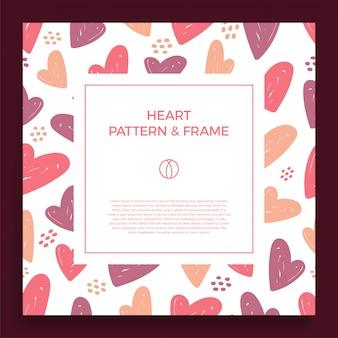 Borda do quadro com mão de amor desenhar padrão de coração cor moderna.